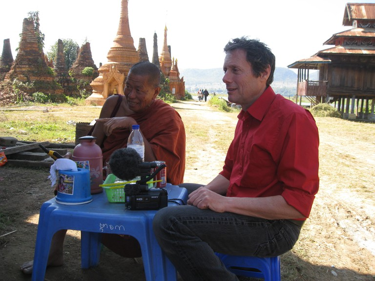 With a monk, who was a former air force pilot and English teacher, in Sankar, Myanmar