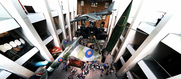 Planes from the Second World War suspended from the ceiling at Imperial War Museum