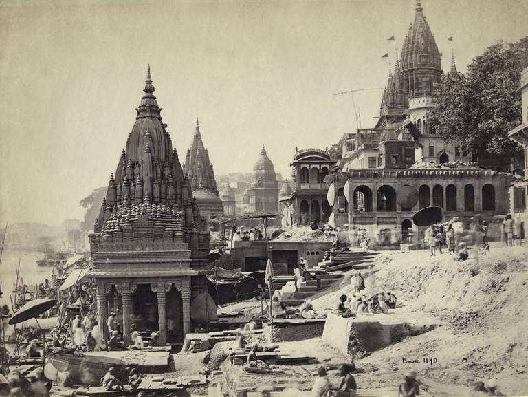 Samuel Bourne, Vishnu Pud & Surrounding Temples near the Burning Ghat, Benares (Varanasi), c. 1865