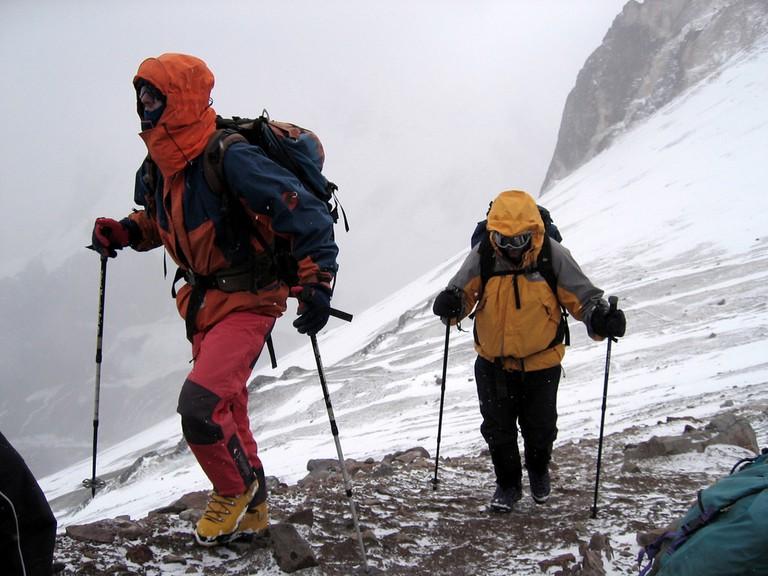 Trekking with poles on Cerro Aconcagua