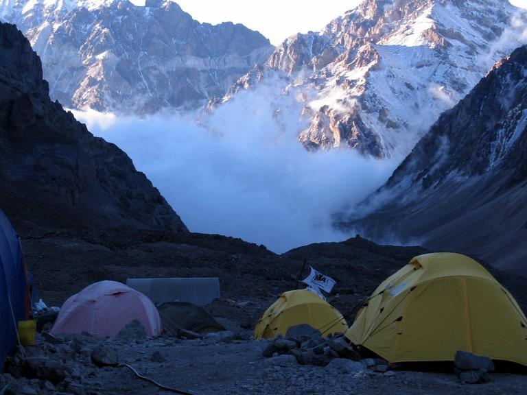 A camp on Cerro Aconcagua