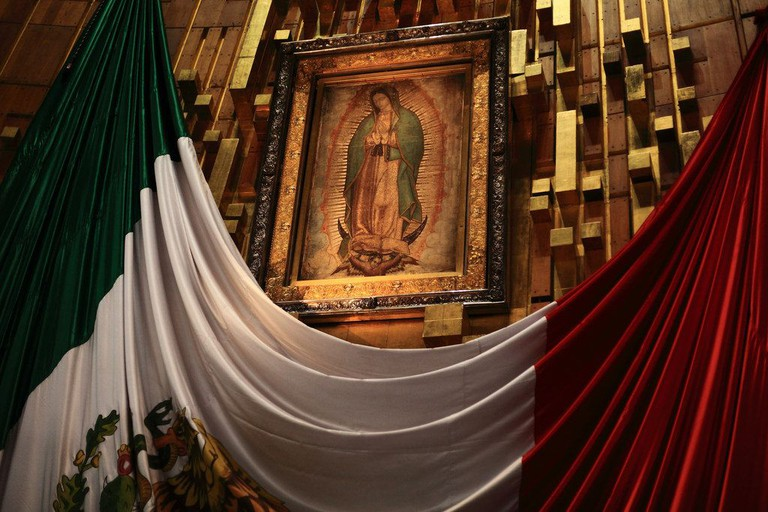 Juan Diego's tilma in Mexico City's Basilica de Guadalupe
