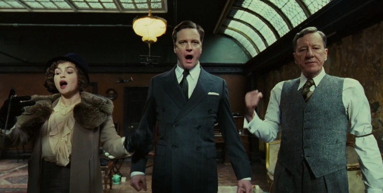 Helena Bonham Carter, Colin Firth, and Geoffrey Rush in <em>The King's Speech</em> | © Momentum Pictures