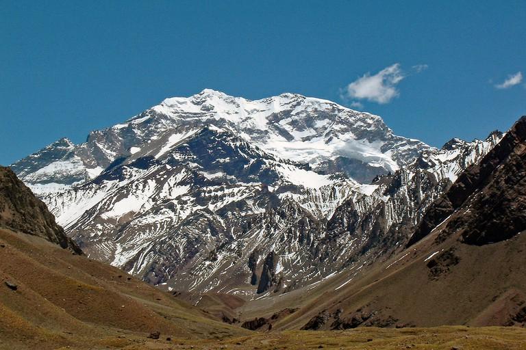 The imposing mass of Cerro Aconcagua, Mendoza
