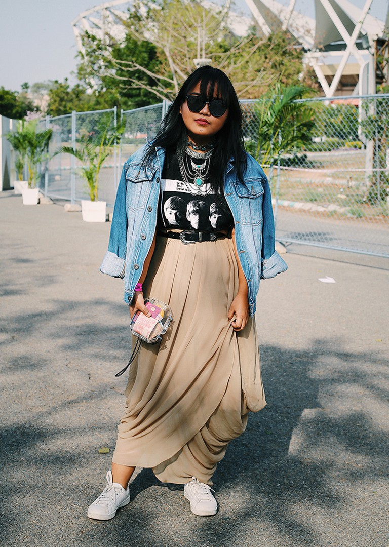 Mawi Neitham, a fashion blogger, styled herself quirky for the Amazon India Fashion Week