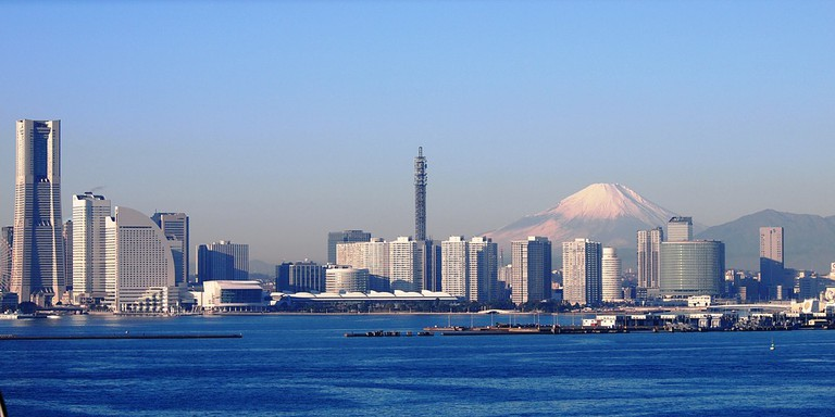 Mount Fuji behind Yokohama