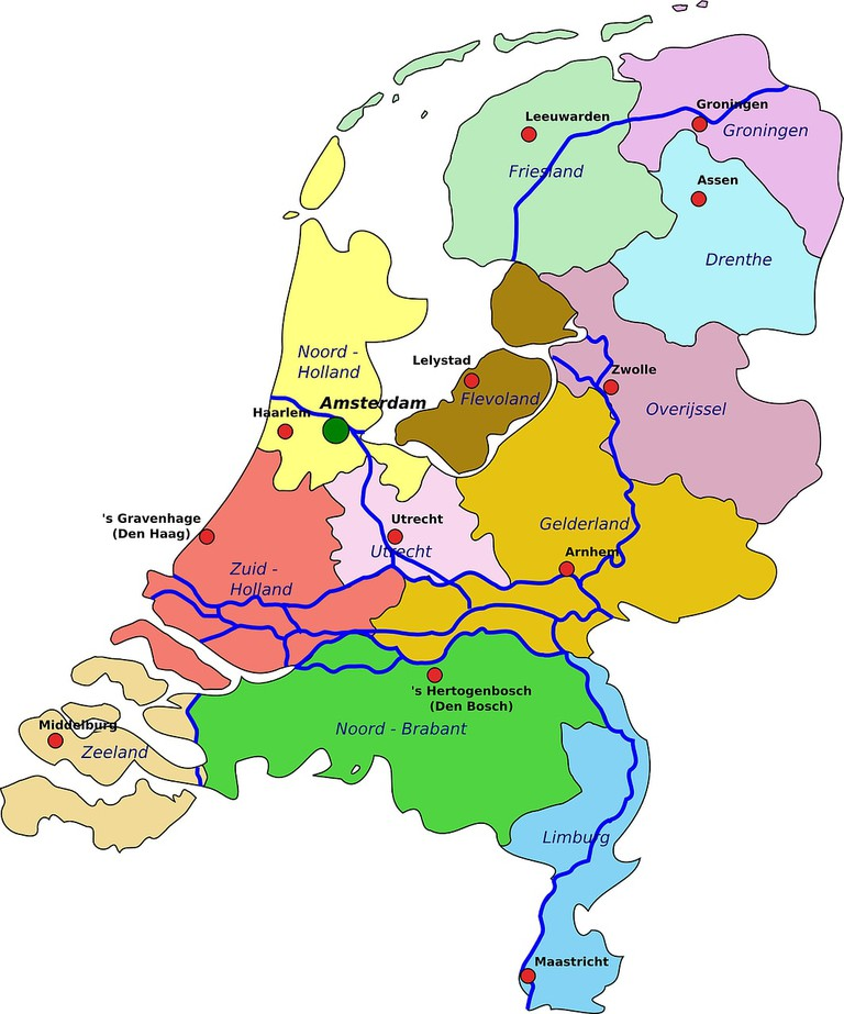 A map of the Netherlands divided by province – notice that only two are suffixed with Holland