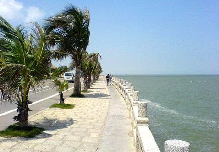 Palm trees line the promenade at Lover's Road in Zhuhai.