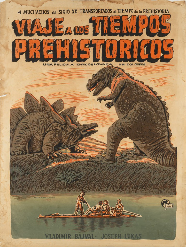 "Silkscreen poster titled ""Viaje a los Tiempos Prehistóricos"" (1956) by Eladio Rivadulla Martinez for the Cuban release of the Czech film, ""Trip to Prehistoric Times."" 
