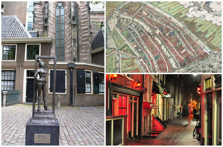 Belle by Els Rijerse on Oudekerksplein in the Red Light District | © Romeo Reidl/Wikipedia, Map of Amsterdam from 1544 showing de Wallen's original proximity to the river Amstel | © Cornelis Anthonisz/Flickr, Typical street in the Red Light District | © Karolina/Flickr
