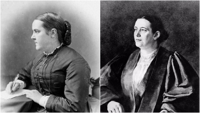 Sophia Jex-Blake (left) and Edith Pechey (right)