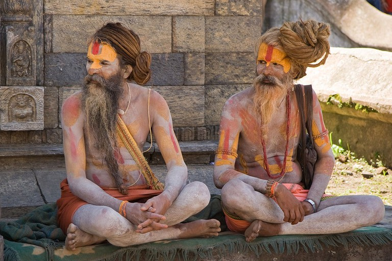 Two Sadhus, or Hindu Holy Men, near Pashupatinath temple in Kathmandu, Nepal.