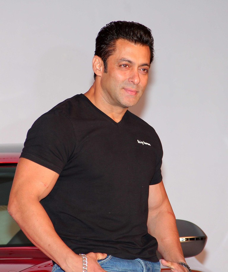 "Indian actor Salman Khan's ""Being Human"" t-shirts are quite popular among Indian men"