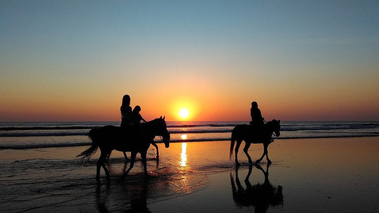Horse riding on the beach at sunset