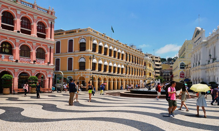 Macau is a mix of Chinese and Portuguese influences as evident in its town square – Senado Square
