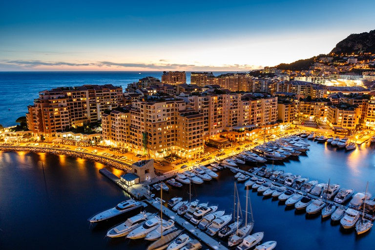 Yachts in neighbouring Monaco harbour