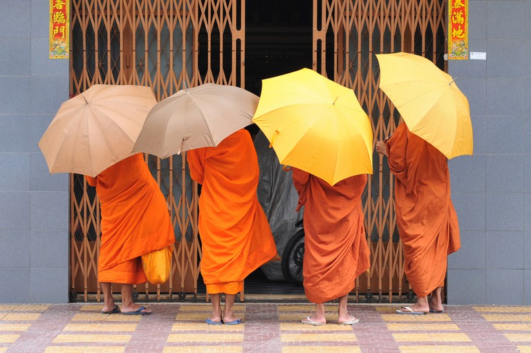 Monks are a common sight in Cambodia
