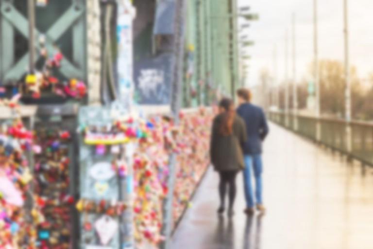A couple on Hohenzollern bridge