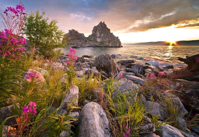 Burkhan rock at Lake Baikal