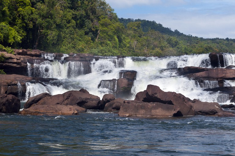 A waterfall in the middle of the Cardamom Mountain region of Cambodia