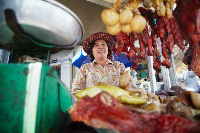 A street food seller in Cambodia