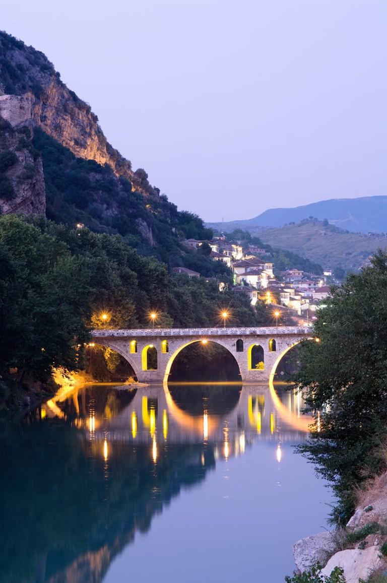 Bridge linking Gorica and Mangalem neighborhoods at twilight | © ollirg/Shutterstock