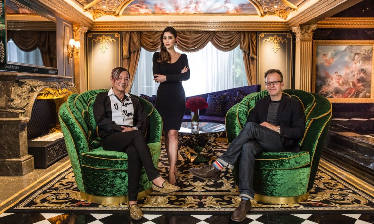 The 13's chairman Stephen Hung and his wife Deborah pose for a photo with Hollywood director Tom McCarthy inside The 13's standard Villa Du Comte accommodation I Courtesy of The 13 Holdings Ltd