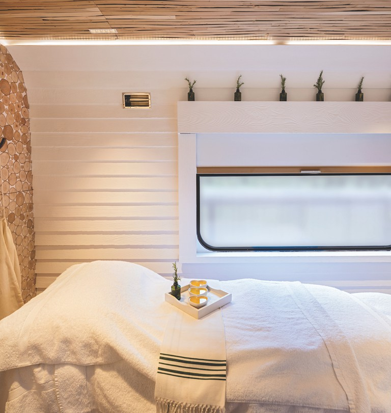 Rosemary sprigs and linen in the spa | Courtesy of Belmond Royal Scotsman