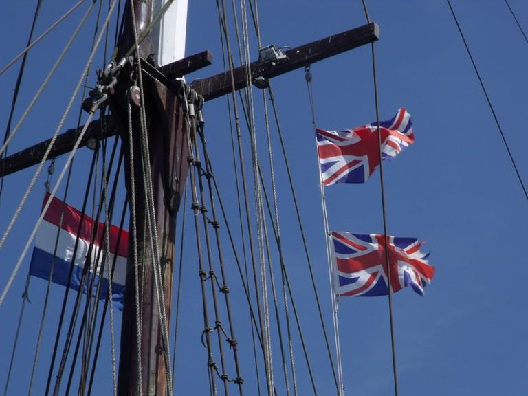 Union Jack flag at sea