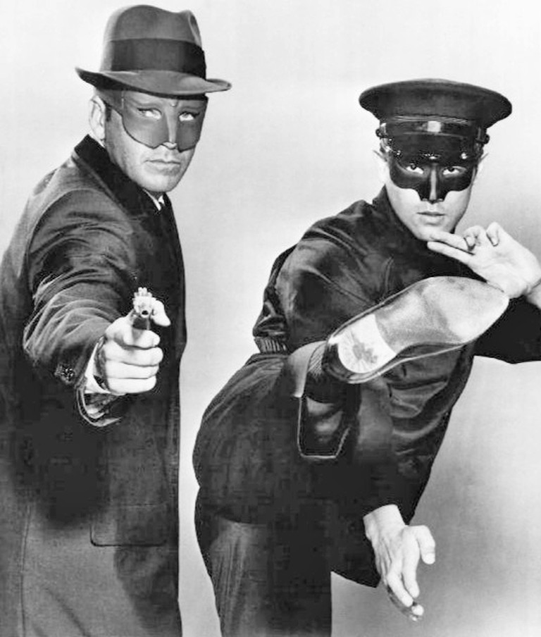 Photo of Van Williams as the Green Hornet and Bruce Lee as Kato from the television program 'The Green Hornet'