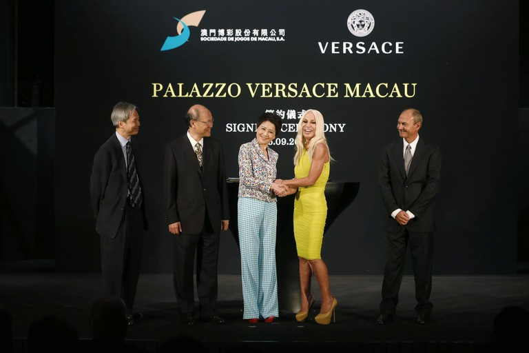 Donatella Versace attends a press conference in Macau after signing on to design a hotel for the Grand Lisboa Palace resort.