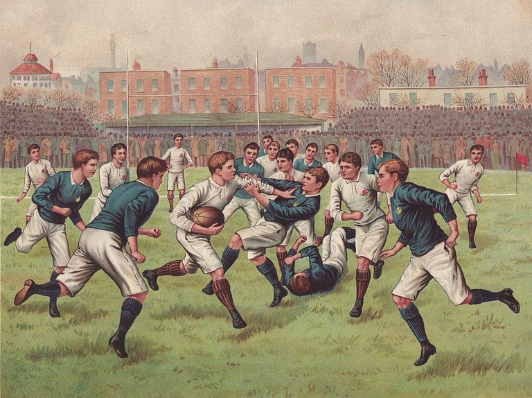 A football match between England and Scotland, circa 1880