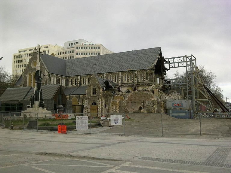 Christ Church Cathedral in September 2012, after partial demolition