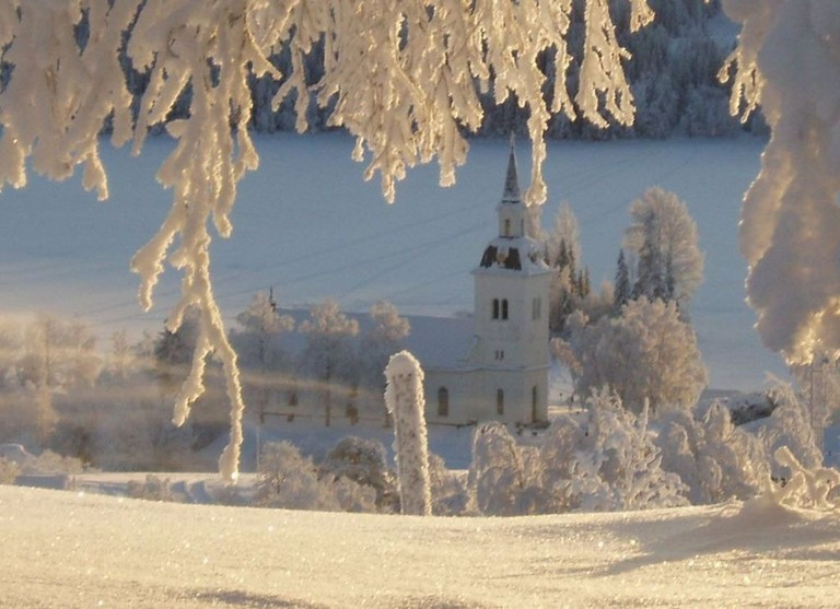 A Laxsjö church in winter