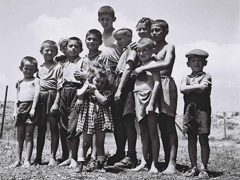 A group of orphans, survivors of the Holocaust at the reception camp in Atlit