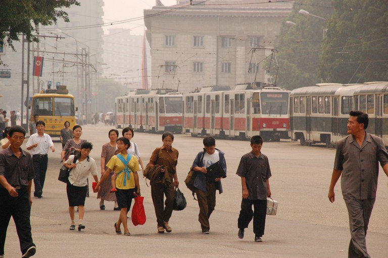 North Korean citizens in Pyongyang