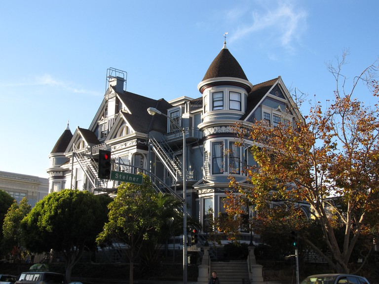 Victorian Mansions of Alamo Square Neighborhood, San Francisco, California