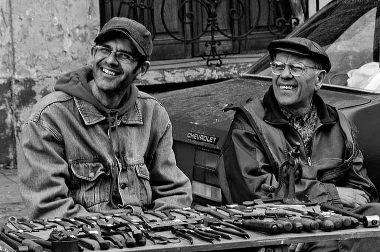 Uruguayans smiling at a street market, Montevideo, Uruguay