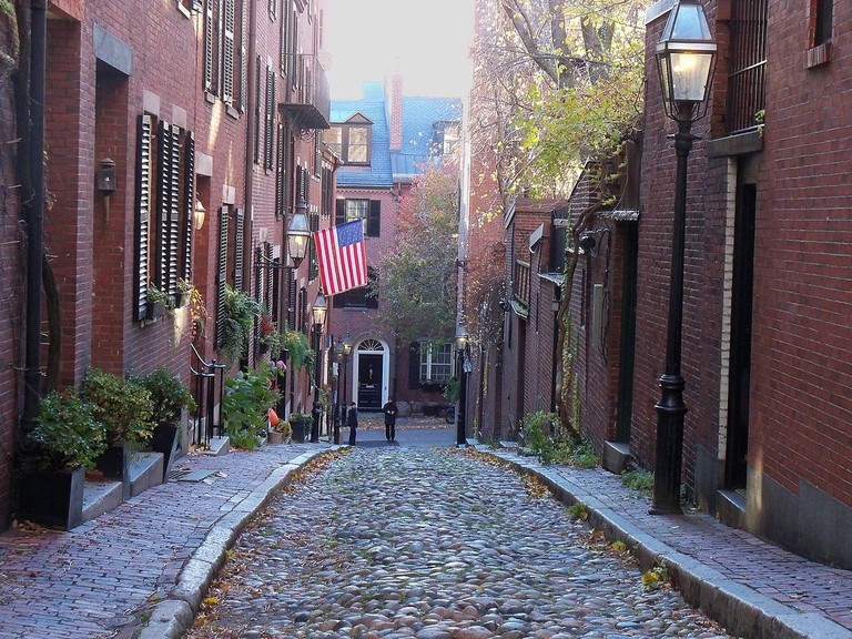 Alley off Walnut Street in the North End neighborhood of Boston, Massachusetts