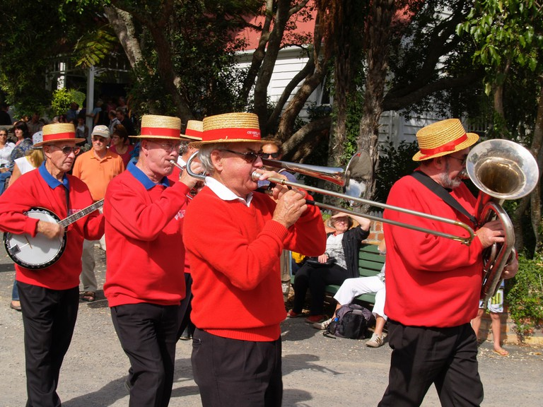 A band playing at the Tauranga Historic Village during the National Jazz Festival