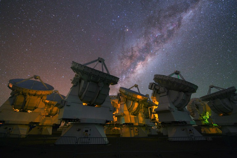 Milky Way above the antennas at the ALMA Observatory