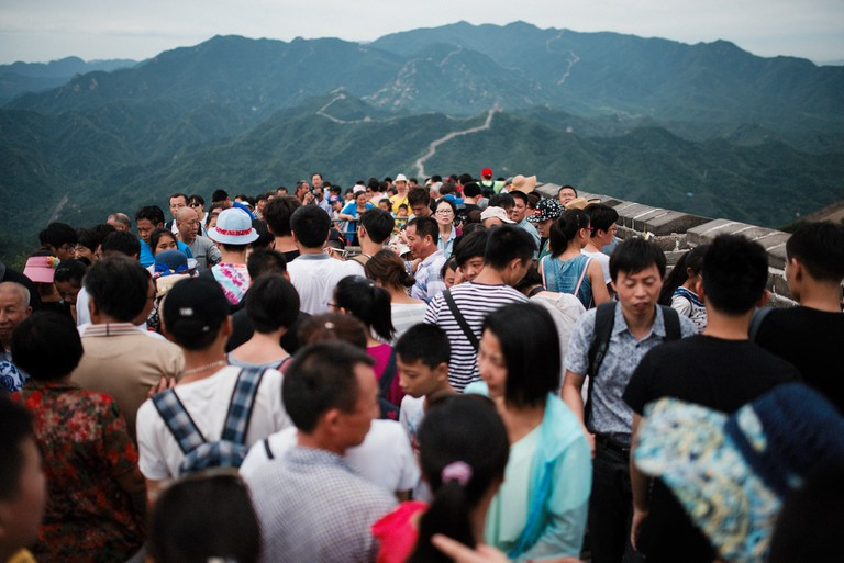 The crowd on the Great Wall