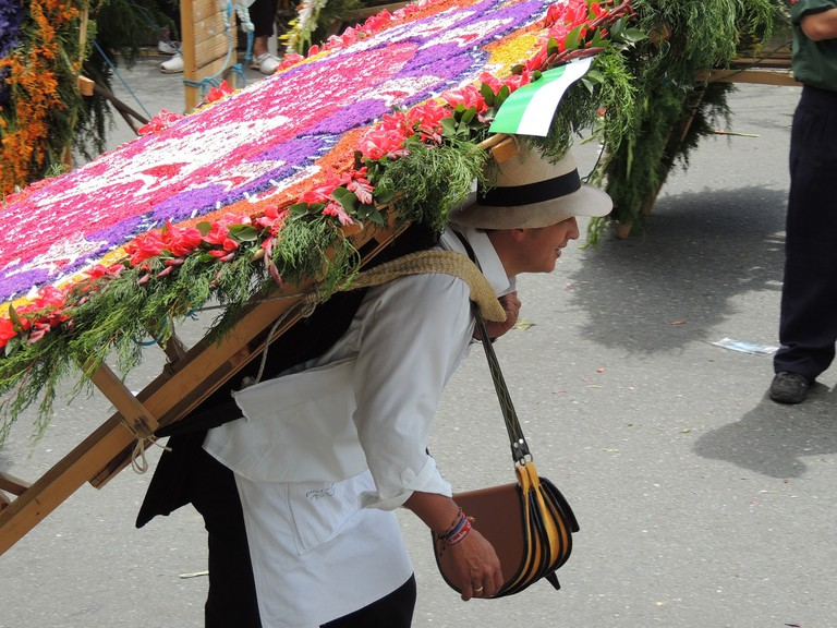 The silleteros parade during the Medellin Flower Festival
