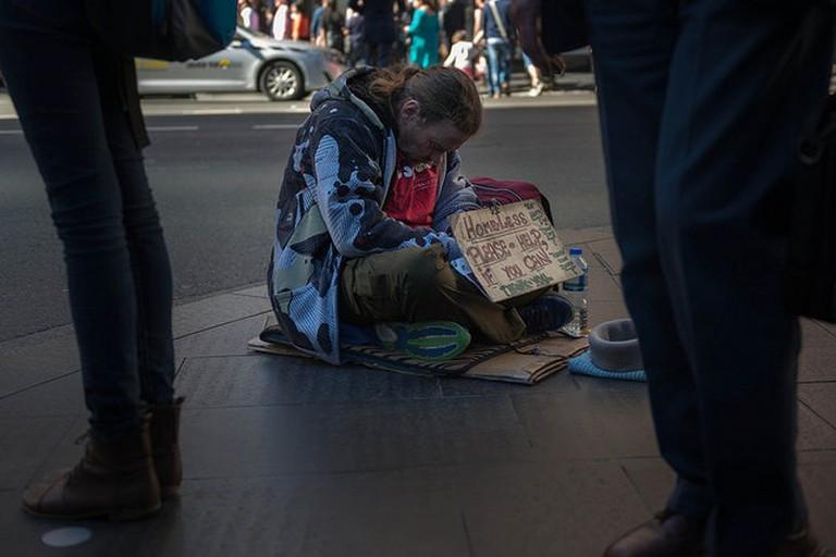 Homeless man in Sydney