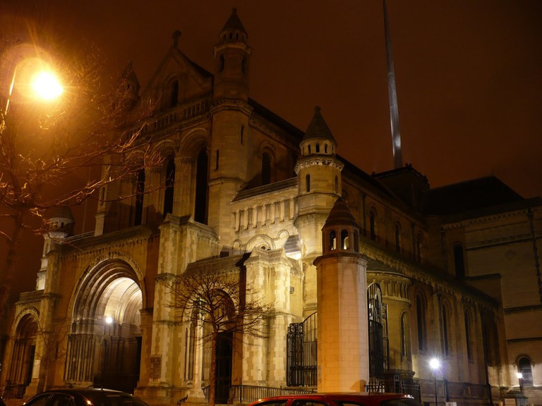 St Anne's Cathedral at night