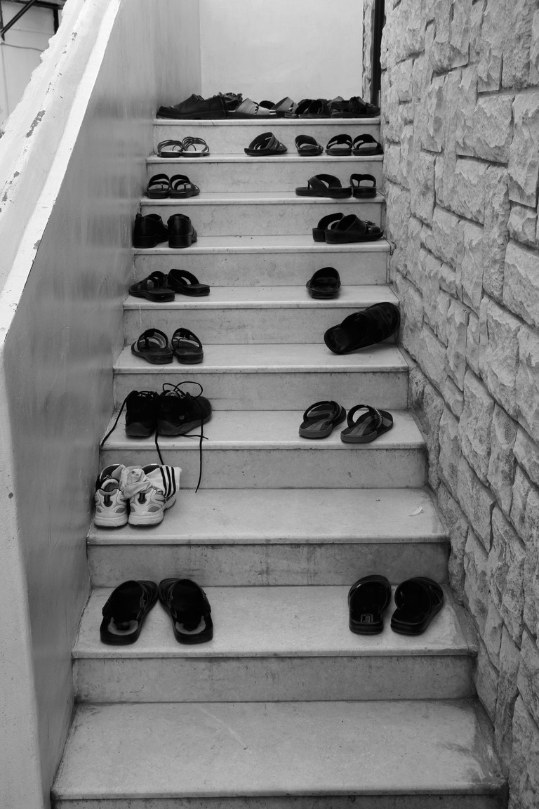 Shoes at Mosque Entrance