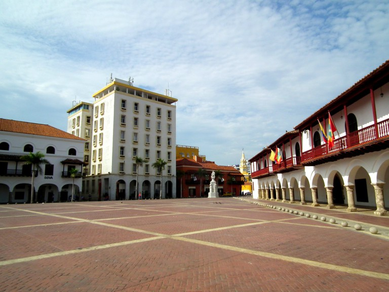 Plaza de La Aduana is one of the largest in Cartagena