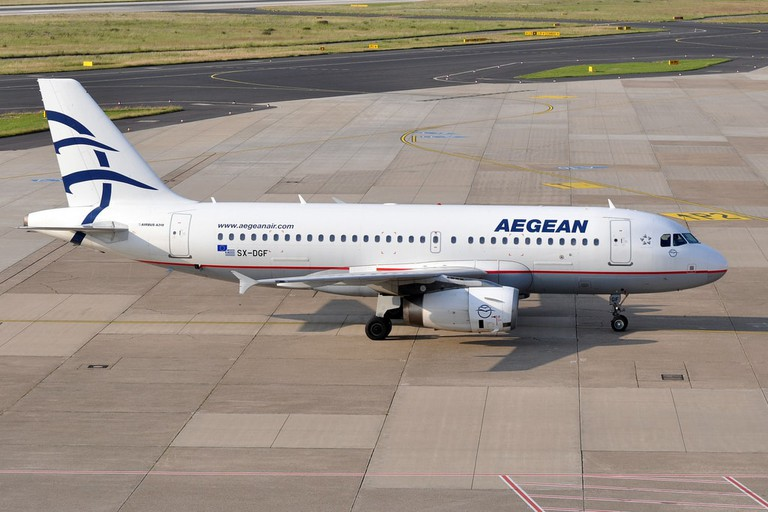 Aegean Airline plane on the ground