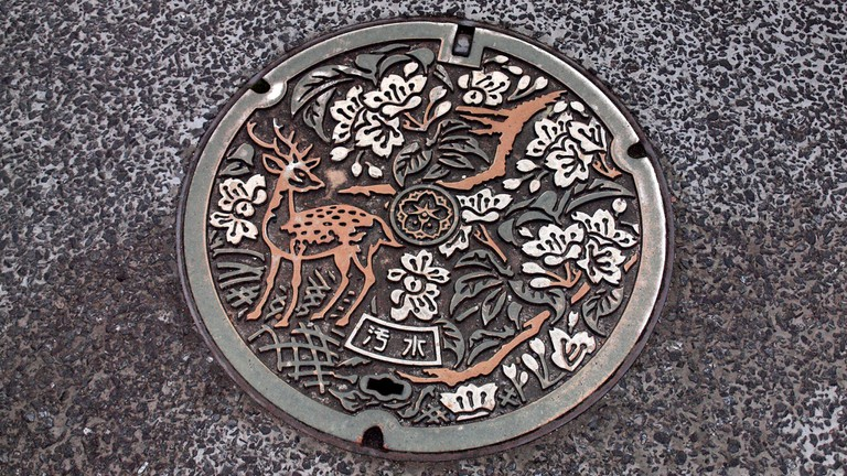 Manhole cover spotted in Nara, Japan