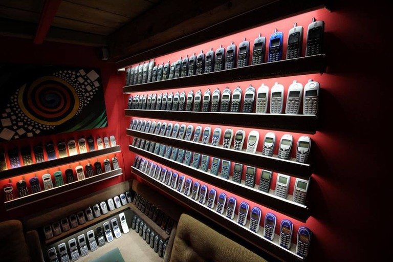 Thousands of old phones line the walls of the Mobile Phone Museum.